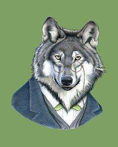 Etsy の Wolf print 8x10 by berkleyillustration