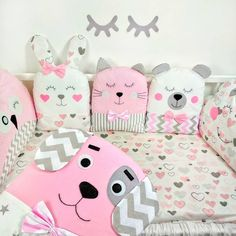 Crochet ideas that you'll love Cot Bumper Sets, Baby Cot Bumper, Baby Crib Bumpers, Baby Cribs, Cute Pillows, Baby Pillows, Kids Pillows, Animal Pillows, Baby Easter Basket