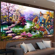 DIY 5D Diamond mosaic Landscapes Garden lodge Painting Cross Stitch Ki – Gifts Leads