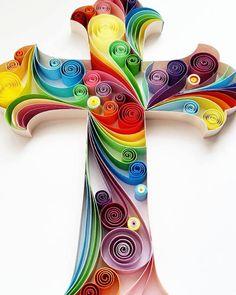 Arte de papel tubulares: Cruz arte hecho a mano por Gericards