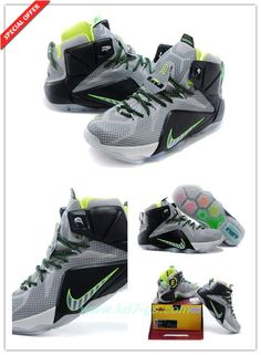Mens Light Grey/Fluorescent Green/Black Nike Lebron 12 EP 684593-007 Discount