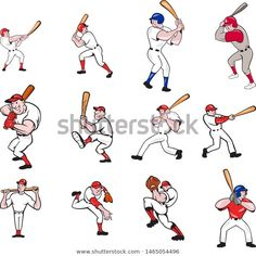 Find Set Collection Illustration American Baseball Player stock images in HD and millions of other royalty-free stock photos, illustrations and vectors in the Shutterstock collection. Baseball Cookies, Mets Baseball, Better Baseball, Baseball Players, Baseball Field, Baseball Tattoos, Baseball Shirts, Baseball Videos, Baseball Crafts