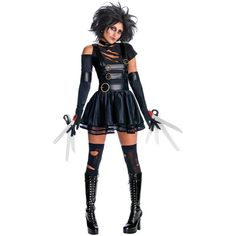 Edward Scissorhands - Miss Scissorhands Adult Costume ($55) ❤ liked on Polyvore featuring costumes, halloween, halloween costumes, goddess costume, holiday costumes, gothic halloween costumes, white wig costume and goth halloween costumes