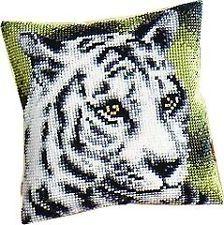 "WHITE TIGER Cushion Front Chunky Cross Stitch Kit 16"" x 16"""