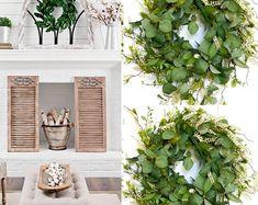 BellasBloomStudio Greenery Centerpiece, Greenery Wreath, Centerpieces, Wedding Arch Rustic, Garland Wedding, Diy Wedding, Wedding Ideas, Eucalyptus Wreath, Seeded Eucalyptus