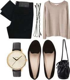 slim black pant/jean, neutral top and flats. ♥