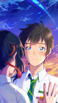 Taki e Mitsuha Kimi no Na wa 19 Wallpaper Casais, Kimi No Na Wa Wallpaper, Your Name Wallpaper, Couple Wallpaper, Anime Couple Love, Cute Anime Couples, Love Lab Anime, Anime Kawaii, Art Manga