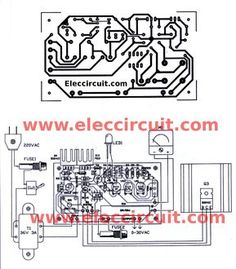 AC Variable Power supply circuit with PCB, - circuitos electrónicos 4 actual-size of Single-sided Copper PCB layout And Component layout - Hobby Electronics, Electronics Projects, Power Supply Design, Arduino Programming, Diy Amplifier, Power Supply Circuit, Tv Panel, Electronic Schematics, Electrical Projects