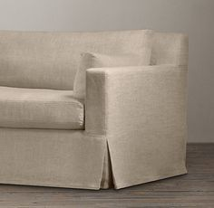 I love this for a low profile sofa. Clean lines, so comfy looking. Having one large cushion eliminates the cushion gap in the middle. Ooodles of fabrics and colors to choose from. You can even customize length, depth, and fill.