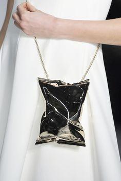 Metallic Purse - chic handbag, runway fashion details // Anya Hindmarch Fall 2014