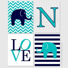 Elephant Love Wall Art Print Set FOUR Personalized by ofCarola, $36.00