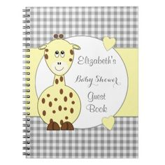 Personalized Gingham Baby Shower giraffe Spiral Notebook - baby gifts child new born gift idea diy cyo special unique design