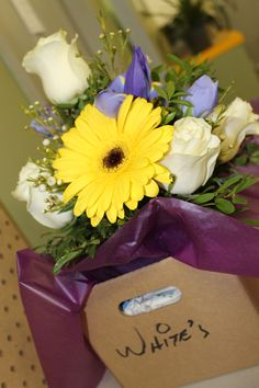 Delivery time! Yellow Gerber Daisy, White Roses and more...