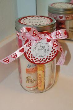 pampering in a jar, fuzzy socks, lotion, lip balm, etc