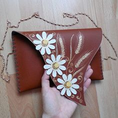 Unusual daisies clutch Painted wheat bag Brown leather flowers