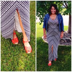 Troentorp Orange Anna Sandal Clog, Ikat Stripe Maxi Dress by Velvet, Denim Jacket by Kut.  Perfect for a summer outdoor date night!