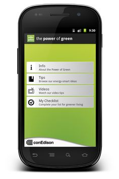 """""""The Power of Green"""" Android app, design and development"""