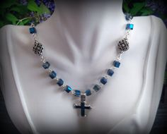 Blue Crystal Necklace - Abalone Shell Cross Pendant