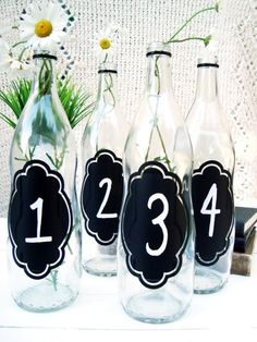 chalkboard bottle - could use for table numbers?