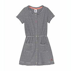 Petit Bateau US Official Online Store, Girl's short-sleeved dress in milleraies cotton, abysse ecume, Girl : Daywear, 35515