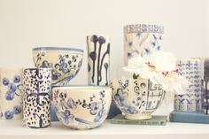 Playing with blues and patterns in the studio #handmade #handpainted #pottery #delft