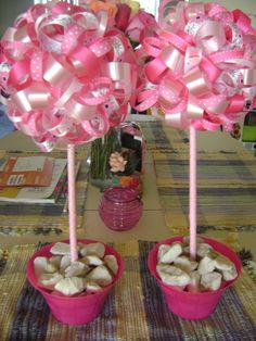 Made these centerpieces for Haley's pink birthday party!
