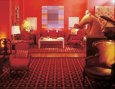 David Hicks was best known in the Mid 20th century for his Eclectic mix of Neo- Classicism and Modern with bold color.