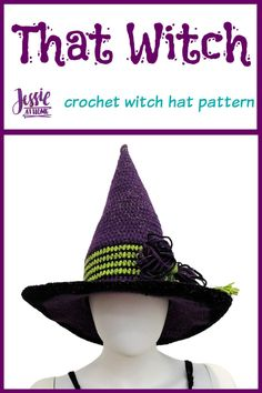 That Witch is a crochet witch hat pattern written in four sizes so the whole family can join in the fun! Wizard hat? Stop after the band. #CALCentralCrochet #HalloweenCAL2020 #CrochetWitchHat #HalloweenCrochet #Costume #CrochetHat #WizardHat #CrochetWizardHat #FreeCrochetPatterns #CrochetPattern #Crochet #Yarn #Crafts #DIY #JessieAtHome #JessieRayot Crochet Crafts, Yarn Crafts, Crochet Yarn, Crochet Patterns For Beginners, Easy Crochet Patterns, Quick Crochet, Free Crochet, Halloween Crochet Patterns, Holiday Crochet