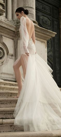 Inbal Dror Wedding Dress Collection ♥ We're starting off 2015 with a furious flurry of wedding dress fabulosity, bringing you yet another dose of droolworthy deliciousness! Today we fawn all over the smoking hot Inbal Dror Wedding Dresses from her Open Back Wedding Dress, Backless Wedding, Long Sleeve Wedding, Wedding Dress Sleeves, Wedding Gowns, Wedding Blog, Wedding Ceremony, Sleeve Dresses, Lace Sleeves