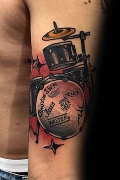 Feel the beat with the best drum tattoos for men. Discover cool drummer inspired ink with musical instrument design ideas from sticks to snares. Music Tattoos, Leg Tattoos, Tattoos For Guys, Best Drums, Drum Tattoo, Best Tattoo Designs, Appreciation, Musicals, How Are You Feeling