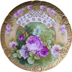 Very Fancy, Elegant, Large Limoges Charger Decorated With a Wide Band of Gold, Raised Gold Paste, and Hand Painted Roses