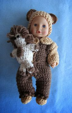 Donna's Crochet Designs Blog of Free Patterns: Free Crochet Pattern Pajamas, Hat, Shoes & Toy Lion For 12-inch Baby Dolls