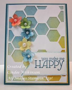 Just Sponge It, Hexagon Hive Thinlits Die, Watercolor Wonder dsp, Petite Petals Punch, Happy Watercolor stamp set, Banners Framlits
