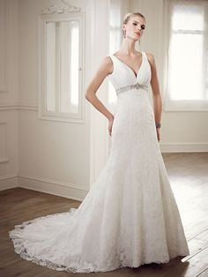 a1cd48cf8955 Deep V-neckline Beaded Brocade Lace Sleeveless Wedding Dress 💟 337.79 from  http