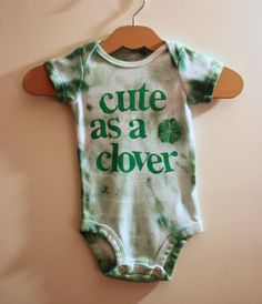 Hand Dyed Hand Printed Irish Onsie Cute as a by YourBabyDays, $18.00