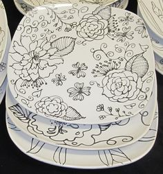 Hand Painted Plate; base colors, then zentangle or grape leaf etc in black ink (thin).