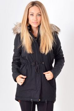 Demi Contrast Parka in Black Hooded Jacket, Bomber Jacket, Winter Warmers, Parka, Contrast, Athletic, Jackets, Collection, Black