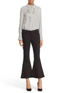 FRAME Tie Neck Stripe Silk Blouse (Nordstrom Exclusive) available at #Nordstrom