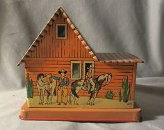 Vintage Tin Litho Cowboy Coin Bank Bar x Dude Ranch Western US Metal Mfg Co | eBay