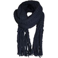 ONLY Knitted Scarf ($20) ❤ liked on Polyvore featuring accessories, scarves, navy blazer, navy blue shawl, navy scarves, fringed shawls, fringe scarves and navy blue scarves