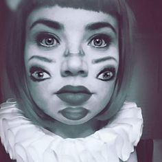 Double vision two-faced makeup for freak show Halloween costume party