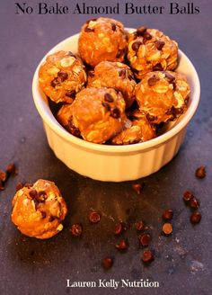 No Bake Almond Butter Balls.  These are delicious!  Can hardly get the balls rolled fast enough to keep my families hands off them!!