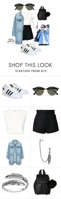 """""""Hoseok Inspired Everyday Outfit"""" by pln-qzn on Polyvore featuring adidas, Ray-Ban, Puma, Courrèges, LE3NO, Bling Jewelry, Primrose, IMoshion and Tempaper"""