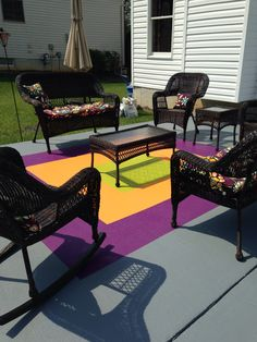 Painted concrete patio rug.