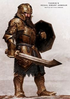 Thorin regal armor concept from the Hobbit <-- whoa look at him, with a long beard too!