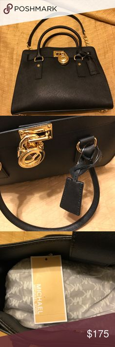 Michael Kors Black and Gold Satchel Black and Gold Satchel with dust cover.  Has the signature gold lock and key. Authentic and brand new. Michael Kors Bags Satchels