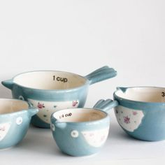Bird Measuring Cups in Blue, $29.99 also available in pink! http://colomandbrit.com/Kitchen/Bird-Measuring-Cups-in-Blue