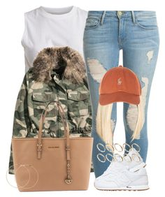 """""""Basic."""" by perfectlyy-imperfect ❤ liked on Polyvore featuring VILA, H&M, Frame, New Balance, Michael Kors, ASOS and Forever 21"""