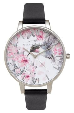Olivia Burton 'Painterly Prints' Leather Strap Watch, 38mm available at #Nordstrom