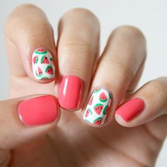 Nail Art Designs 💅 - Cute nails, Nail art designs and Pretty nails. Cute Nail Art, Easy Nail Art, Beautiful Nail Art, Cute Nails, Pretty Nails, Gorgeous Nails, Beautiful Pictures, Fruit Nail Designs, Cute Nail Designs